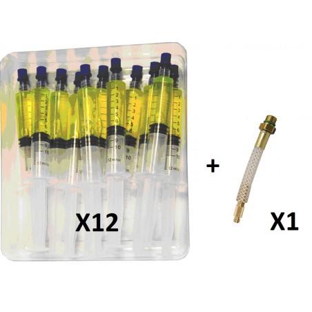 Pack de 12  traceurs en seringues HFO pour gaz r1234YF + raccord avec valve