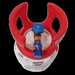 Adaptateur cylindre universelle basse pression assemblé avec un raccord rapide BP sur une bonbonne de gaz r1234yf