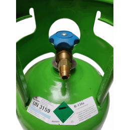 F1/4 SAE x M3/8 SAE connection mounted on an r134a gas cylinder